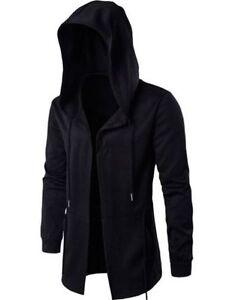 Fashion Men Hooded Jacket Long Cardigan Black Ninja Goth Gothic Punk Hoodie Coat
