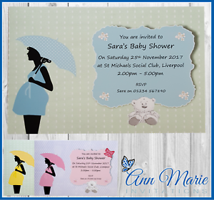 10 x personalised baby shower invitations boy girl baby shower image is loading 10 x personalised baby shower invitations boy girl filmwisefo