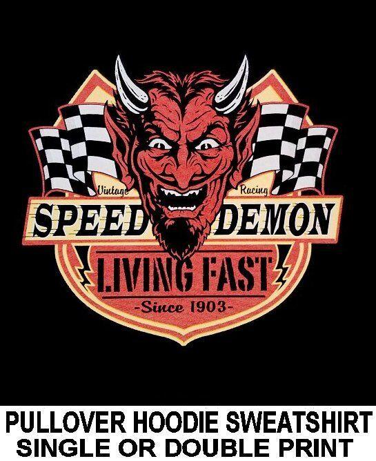 SPEED DEMON LIVING FAST DEVIL GHOST BIKER MOTORCYCLE RIDER HOODIE SWEATSHIRT 73