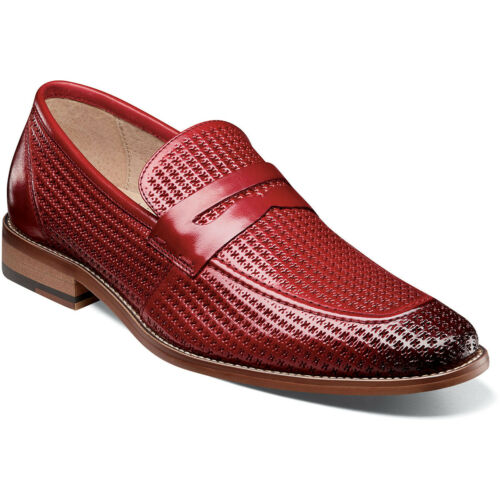 Stacy Adams Men/'s Belfair Moc Toe Penny Loafer Red Leather Dress Shoes 25165-600