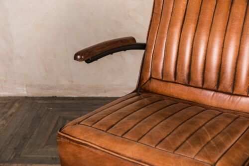 RIBBED LEATHER SEATING LEATHER CLASSIC CAR SEAT ARMCHAIR OR SOFA