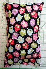 OWLS snoozing sleeping Owl small Pillow Case & 1 WHITE Travel Pillow