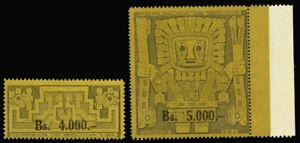 Bolivia-449-450-MNH-CV-115-00-1960-4000b-amp-5000b-SURCHARGES