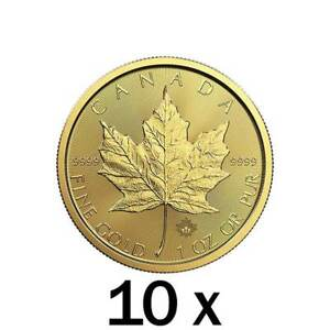 10 x 1 oz Gold 2019 Maple Leaf Coin RCM - Royal Canadian Mint