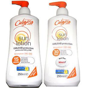 2-x-Calypso-fattore-15-30-resistente-all-039-Acqua-Sole-Abbronzante-Lozione-Crema
