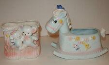 Vintage Napco 9940 Rocking Horse & Unknown E-2557 Bears BABY Nursery Planters