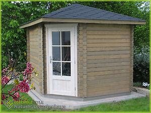 Details zu 5-Eck Gartenhaus Blockhaus 2.6x2.6M 5-Eckige Holz Pavillon 28mm  Trier EB28042F18