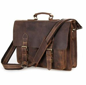 97aff96fb187 Details about Crazy Horse Leather Men 15'' Laptop Briefcase Document Bag  Portfolio Attache