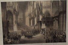 C.W. MIELING INCISIONE COLORATA 1849 INCORONAZIONE WILLEM III AMSTERDAM GRAVURE
