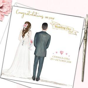 Personalised Wedding Day Congratulations Card Bride Groom Ebay
