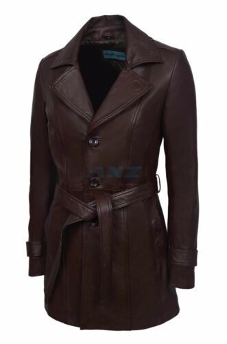 ceinturé Ladies cuir veste Womens veste taille Brown à Hazel ajusté en italien souple la 1pwdBxwq