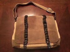 SISLEY Crossbody Cotton/Leather Tan Messenger Shoulder Bag O/S