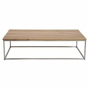 HIGH-QUALITY-ASHED-ELM-TOP-COFFEE-TABLE-WITH-BRUSHED-STEEL-LEGS-130x70x40H-cm