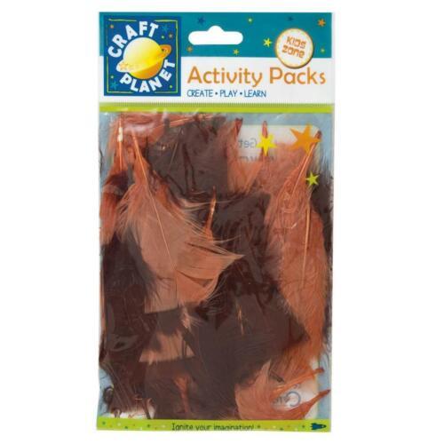 Craft Planet 7 gramos Pack de plumas naturales en colores salmón y marrón rojizo