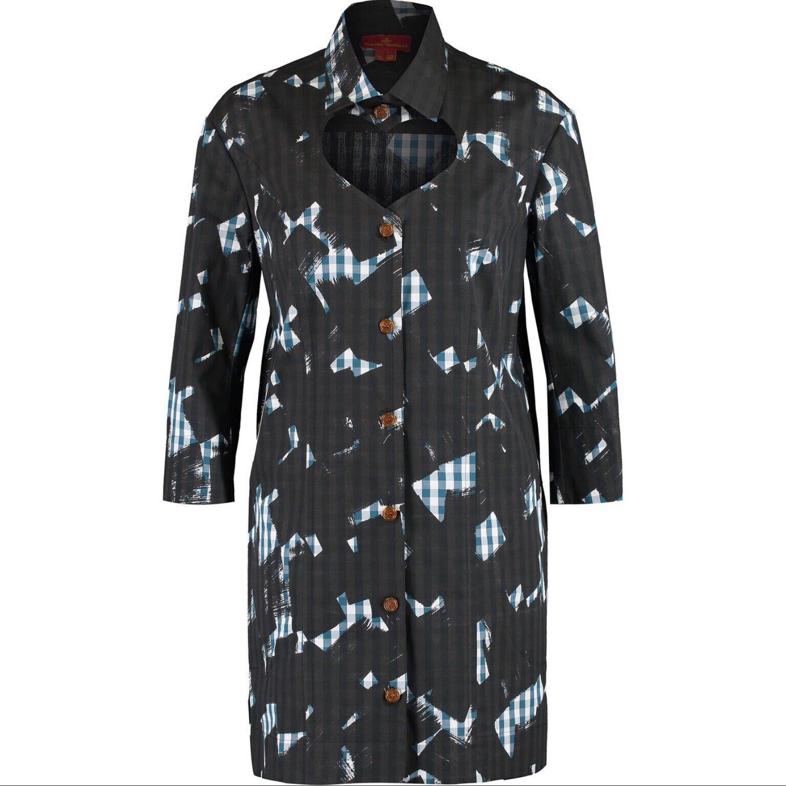 Vivienne Westwood Grey Multi Patterned Oversize  Shirt Dress size IT 44,