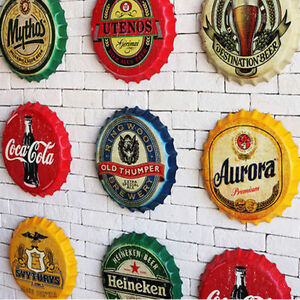 Image Is Loading US Tin Metal Beer Bottle Caps Sign Poster