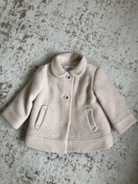 New Zara Baby Girl Peter Pan Collar Wool Coat Beige Pink 9 ...