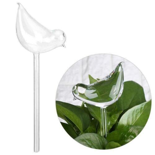 Glass Water Feeder Flower Plant Self Watering Bird Waterer Deocr Swan Garde U1I2