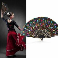 Retro Chinese Folding Hand Fan Peacock Floral Sequins Handheld Party Dacing Fan