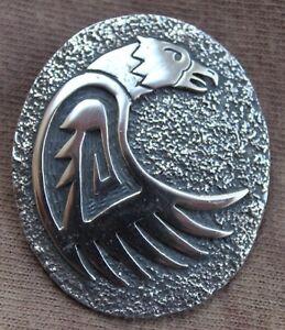 """(mex)-hopi Anhänger & Nadel, """"adler"""" V. Chief Dodge Indianerschmuck, Silber Freigabepreis"""