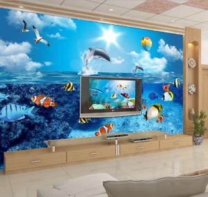 3D Himmel Ozean Fisch 705 Tapete Wandgemälde Tapeten Bild Familie DE Summer