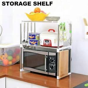 2Tier-Stainless-Steel-Microwave-oven-Rack-Stand-Storage-Holder-Kitchen-Shelf