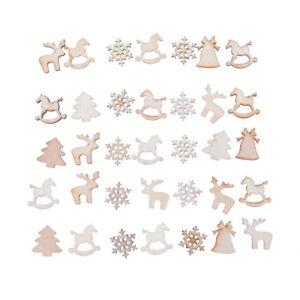 30x-bricolage-Artisanat-Noel-Christmas-Chip-bois-ornement-decoration-I