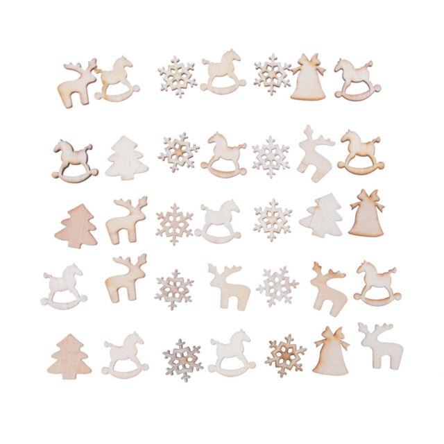 30Pcs DIY Craft Christmas Xmas Wood Chip Hanging Ornaments Decoration Gift ME