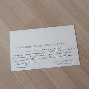 CARTE DE VISITE MANUSCRITE CHARLES TARDY MONTRAVEL