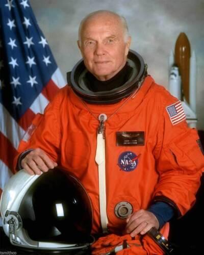 John Glenn Astronaut PHOTO 1st to Orbit Earth Space Shuttle Discovery Mission