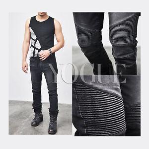 Fashion Men Black Ripped Jeans Pants Biker Skinny Slim Straight Denim Trousers