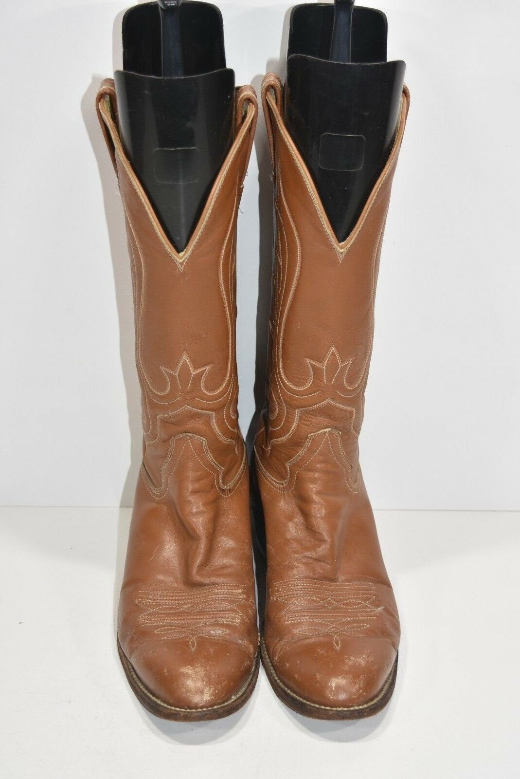 HONDO BOOTS 11 B VINTAGE BROWN LEATHER CLASSIC WESTERN COWBOY BOOTS ROPERS