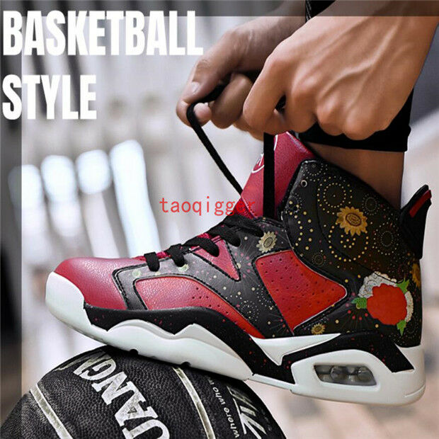 Men's outdoor high top floral Graffiti Lace up Slip Resistant basketball  shoes
