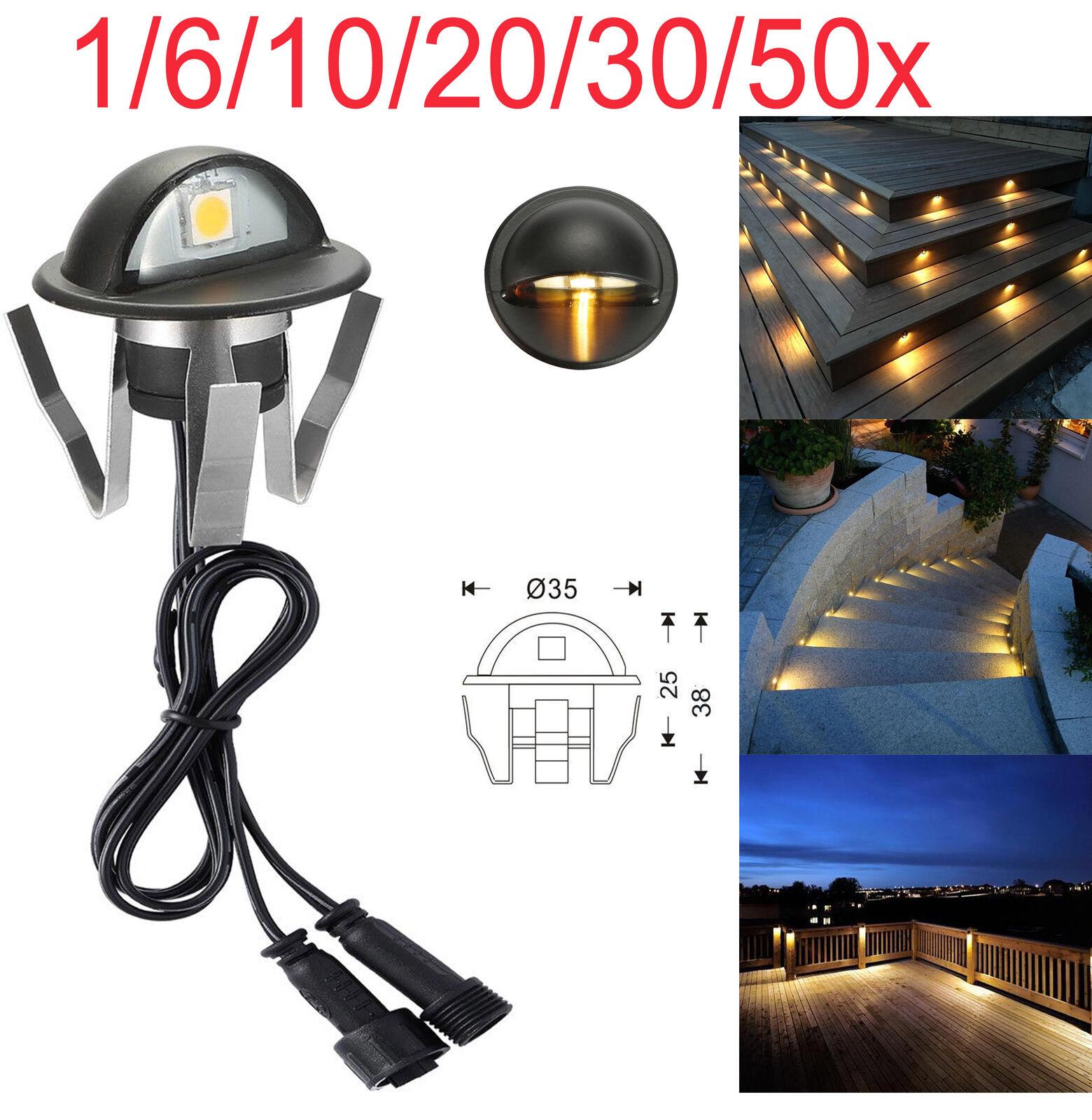 10 20 30 50X 12 V Negro camino al aire libre de media luna LED de luces de valla de cubierta escalones