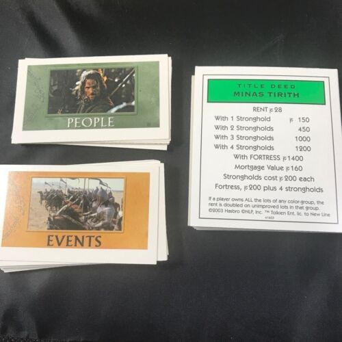 Lord of the Rings Property Cards People Event 2003 Hasbro Replacement Monopoly
