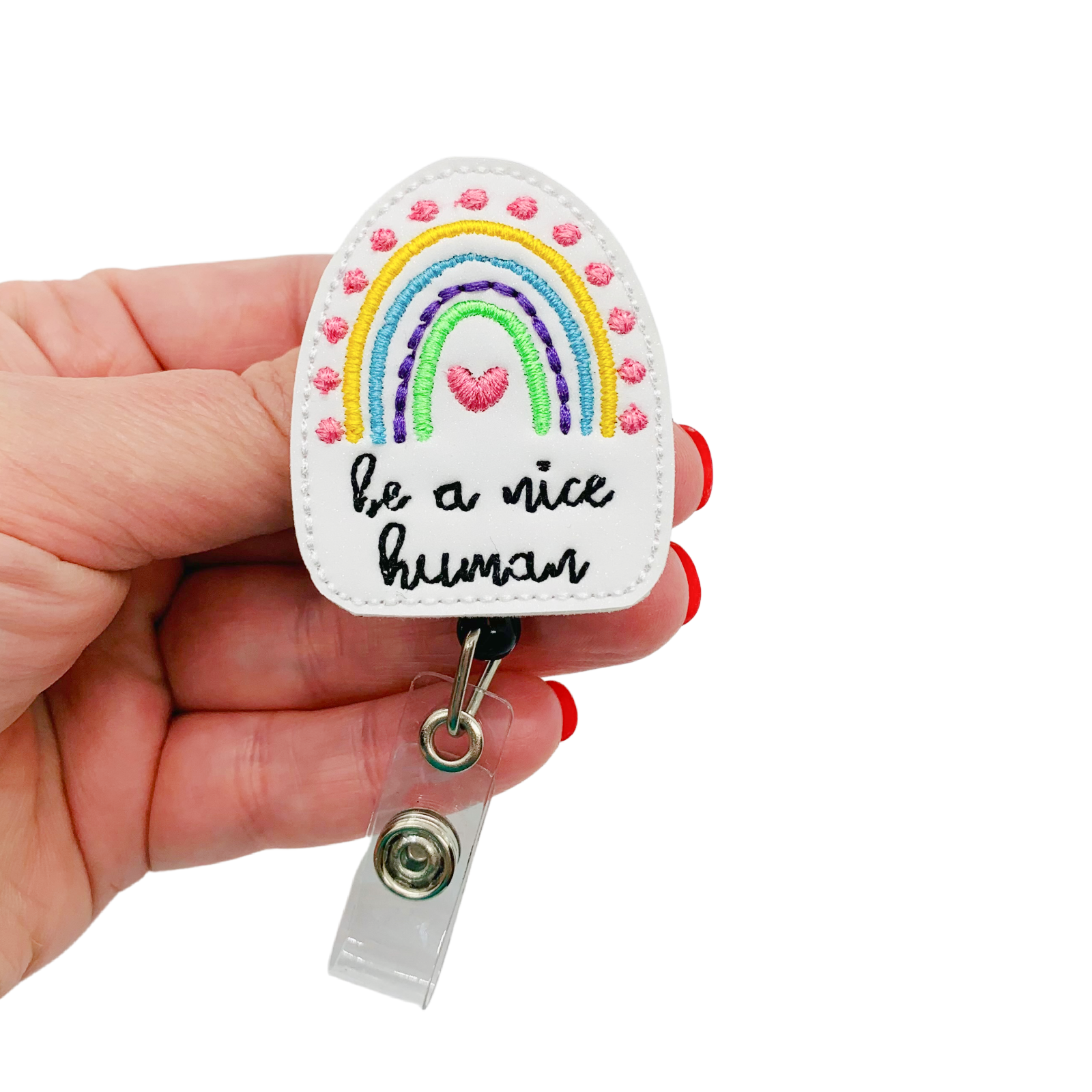 Be A Nice Human Badge Reel Rainbow RN ID Holder Happy Nurse Name Tag Clip Gift