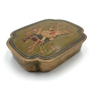 Brass Jewelry Trinket Box Riding On Horse Decoration Probably 1950's Far East
