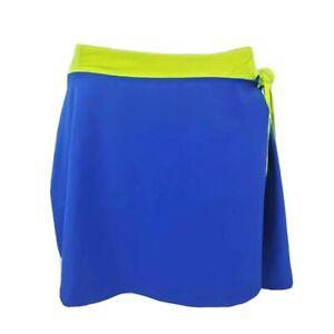 Kyodan-Womens-Skort-Blue-Neon-Yellow-Faux-Wrap-Skirt-Tennis-Athletic-M-New