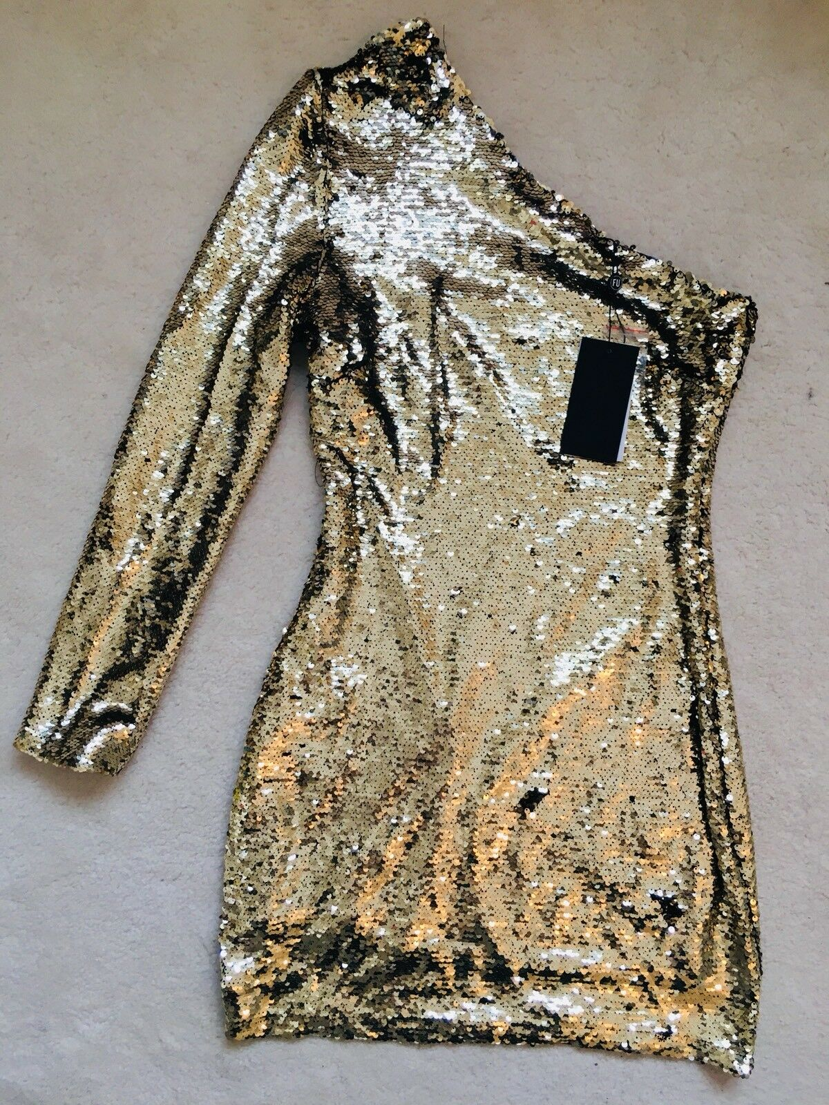 BNWT Women's gold Sequin One Shoulder Party Dress Size By Fashion Union