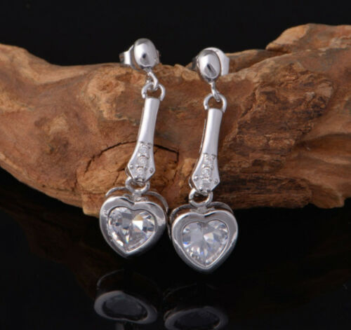 Ear Studs Earrings Drop with Heart out Crystal White Sterling Silver 925