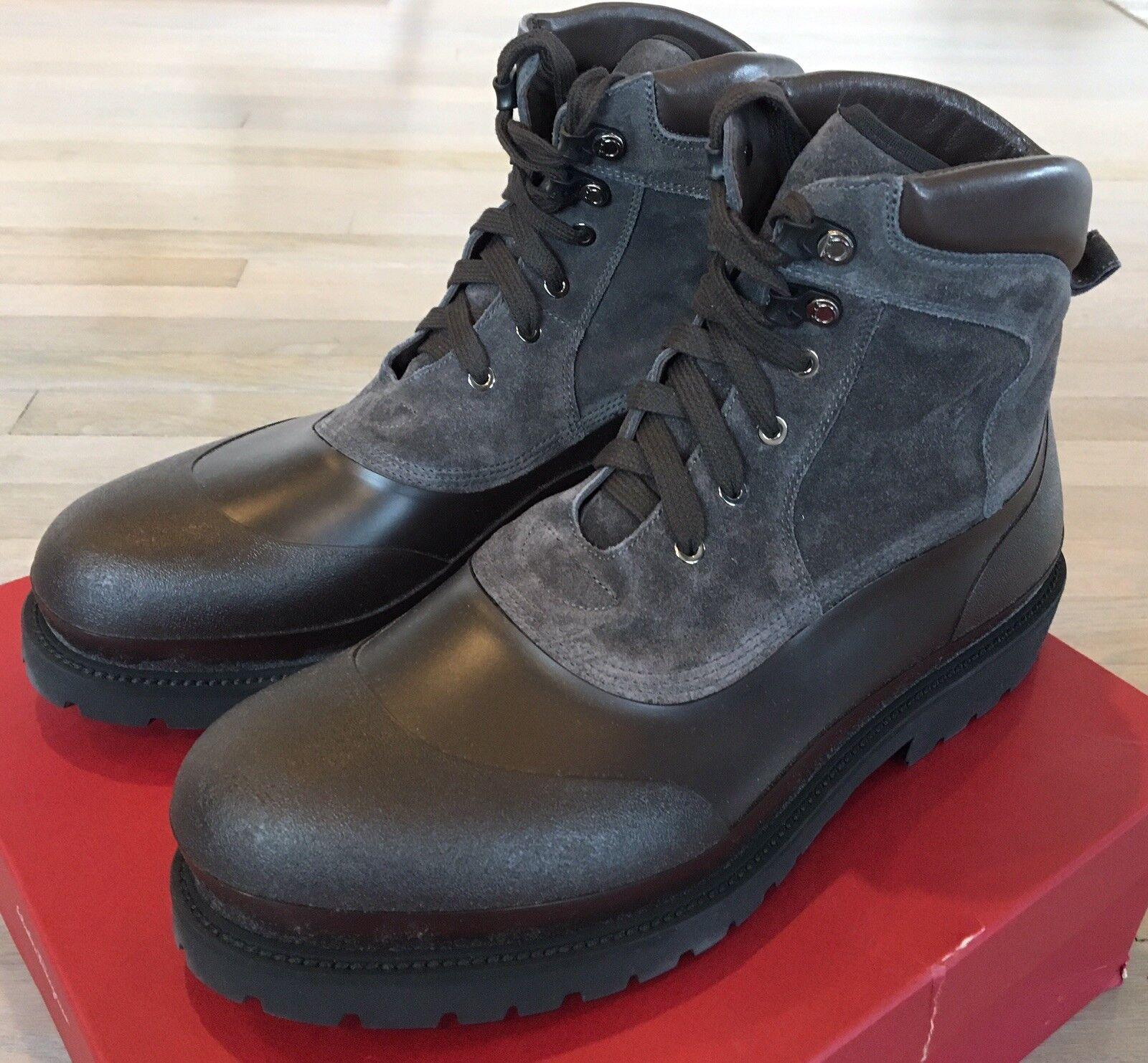 Salvatore Ferragamo Forest Rubber and Suede braun Stiefel Größe US 13 Made in