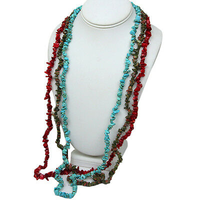 "Set of 3 Red  Coral 34"" Unakite 34"" and Simulated Turquoise  34"" Chip Necklace"