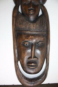 Antique-XXL-Wall-Plaque-African-Primitive-Wooden-Art-Heavy-Hard-Wood-Hand-Carved