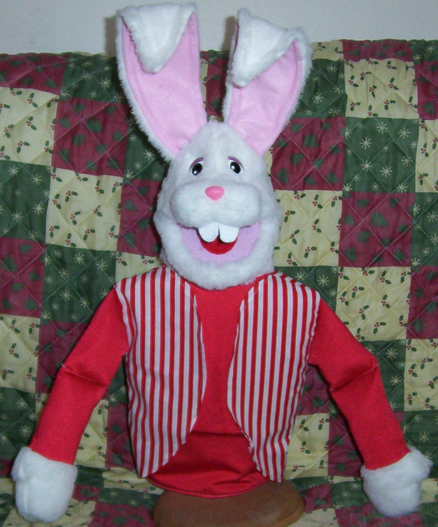 Large White Bunny Rabbit puppet-ventriloquists-Your choice boy or girl