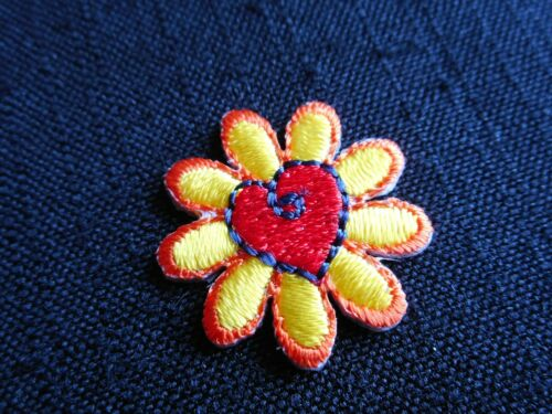 """THREE /""""Daisy with heart in center/"""" Machine-embroidered applique iron-on patches"""