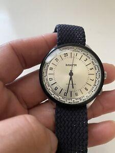 Vintage Raketa World Time 24 Hour Military Stainless Steel Wrist Watch