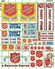 7004 DAVE'S DECALS HO SCALE SALVATION ARMY THRIFT STORE BUILDING SIGNAGE SET