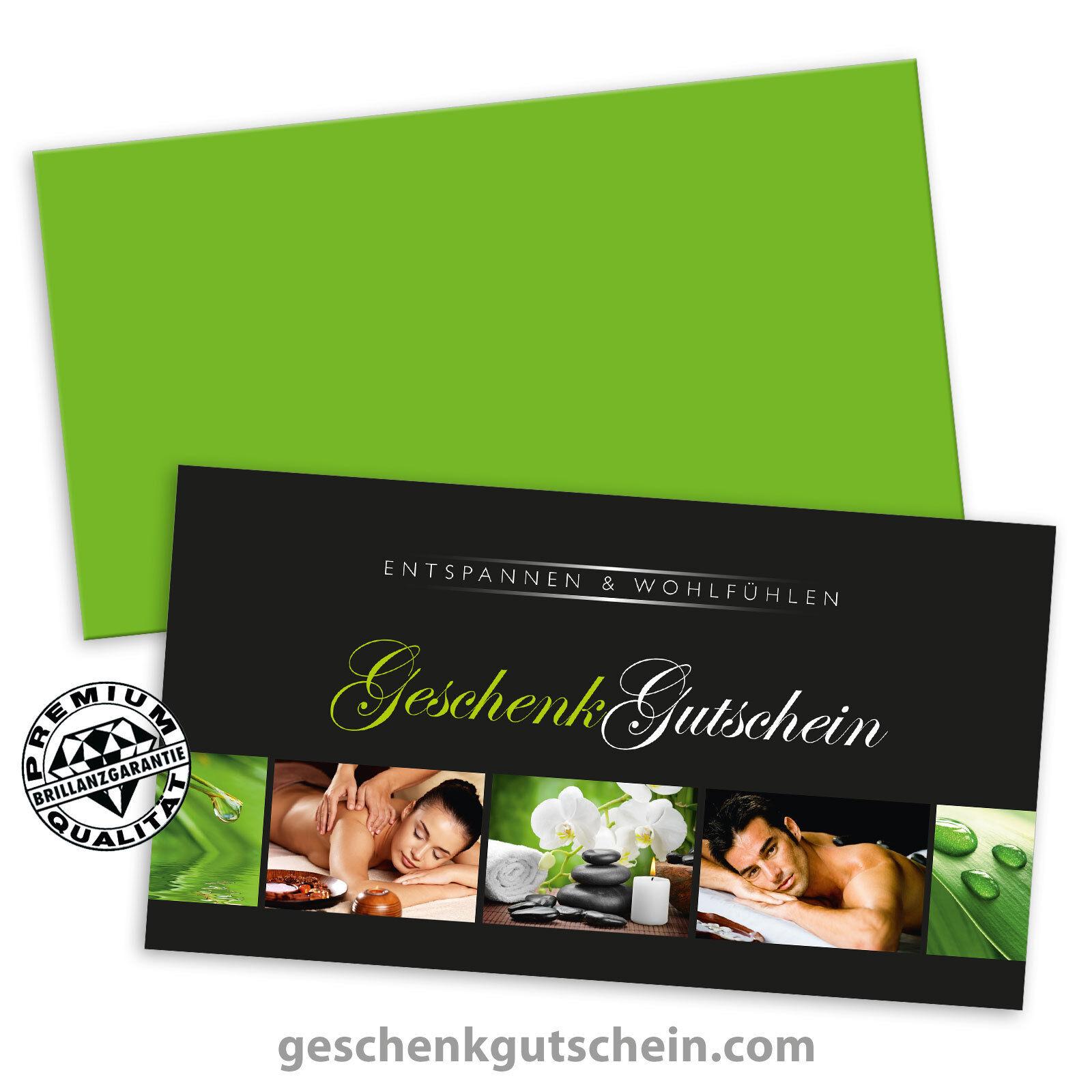 Gutscheinkarten  Standard  mit KuGrün für Kosmetik Wellness Spa Massage MA1333