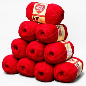 5x100g-Red-Heart-4-Fach-UNI-Rot-Sockenwolle-Schachenmayr-Regia-Wolle