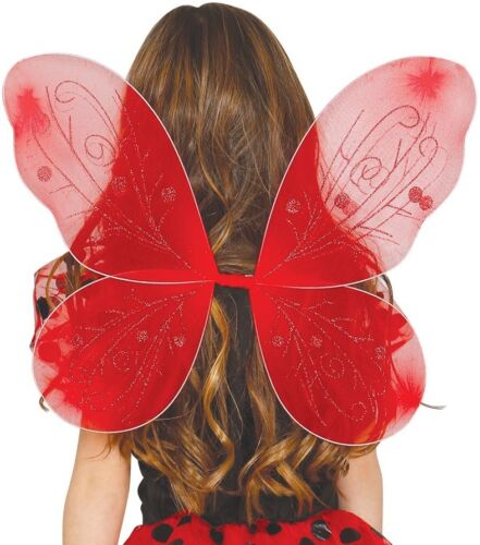 Enfant filles rouge coccinelle fée papillon ailes fancy dress costume outfit